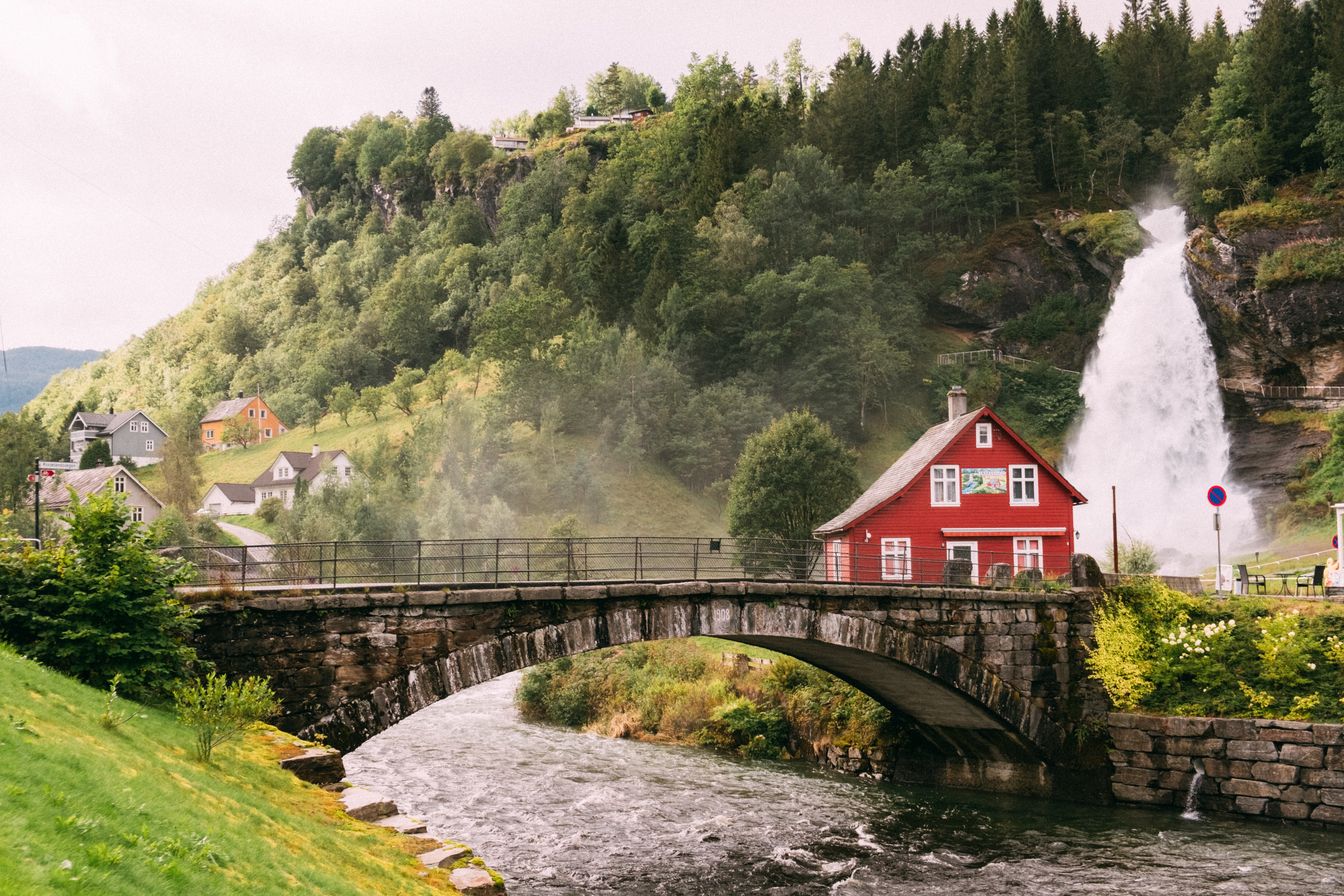 Norway Unsplash waterfall red house