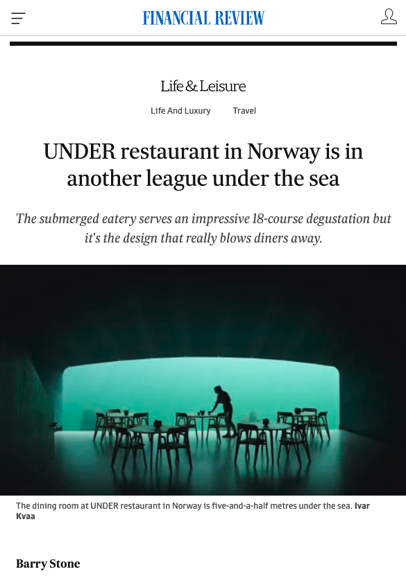 Barry Stone: UNDER restaurant in Norway is in another league under the sea