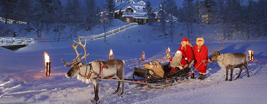 white christmas finland santa and sleigh