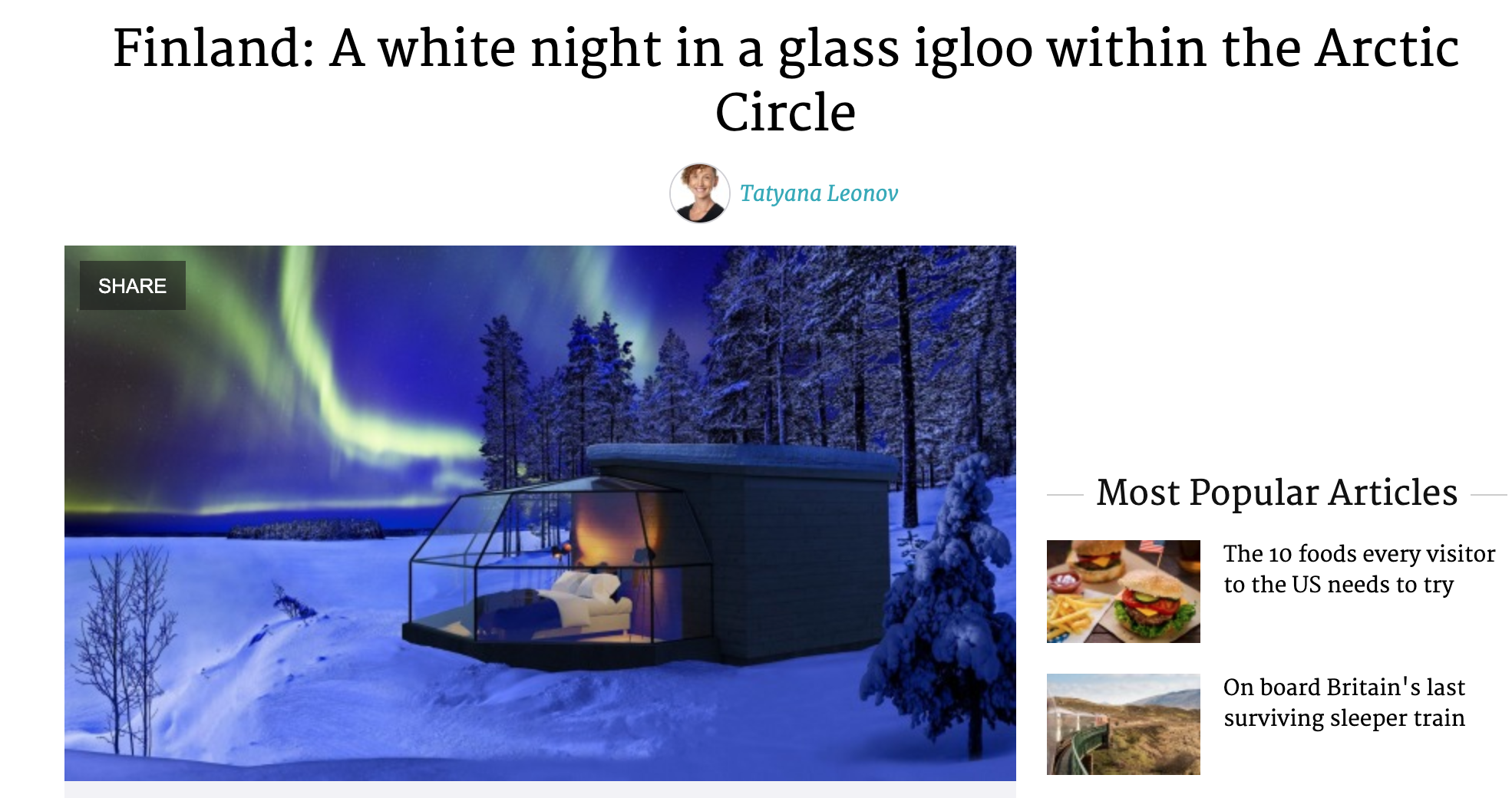 A white night in a glass igloo