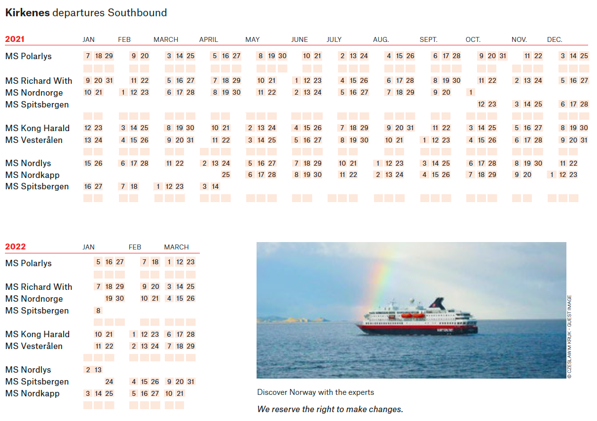 Norway Hurtigruten Northbound Schedule