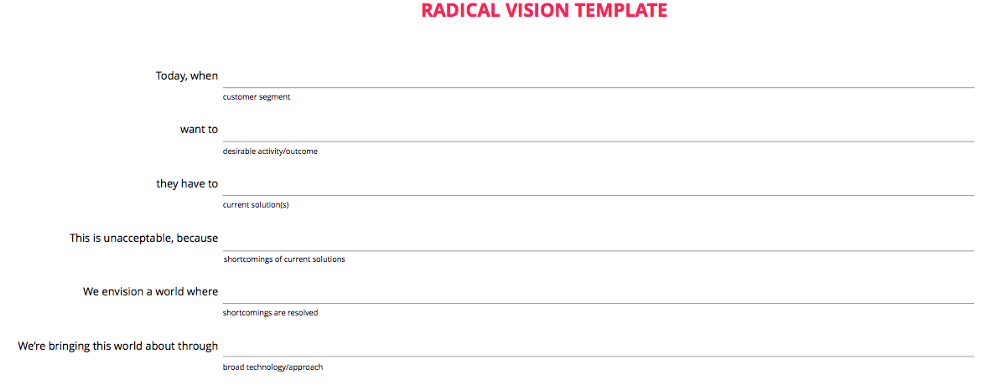 Radical Product Vision Template