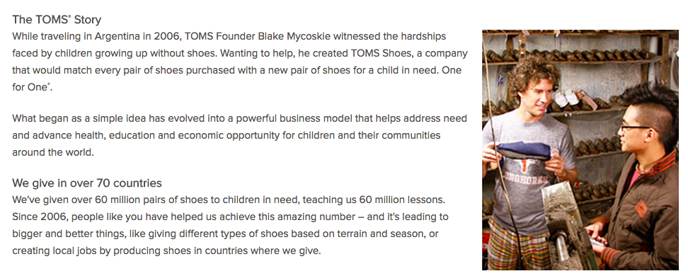 TOMS Shoes Company Mission Statement