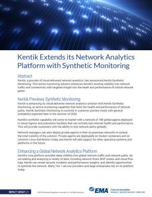 EMA Analyst Report - Kentik Synthetic Monitoring