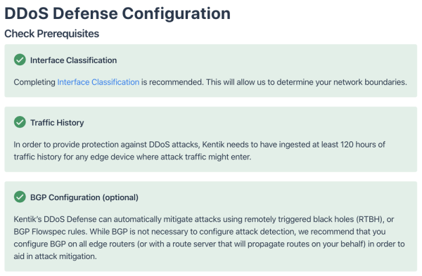 DDoS Defense Configuration