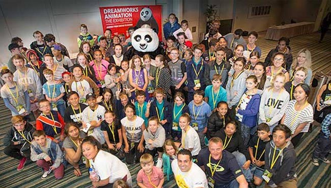 Kids attend Blue Light day at Te Papa with Kung Fu Panda