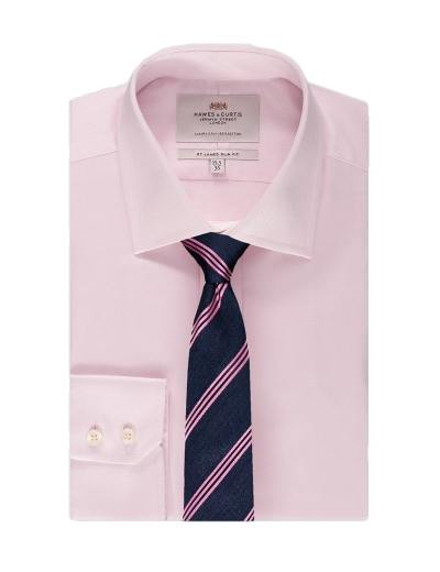 Pink shirt navy striped silk tie