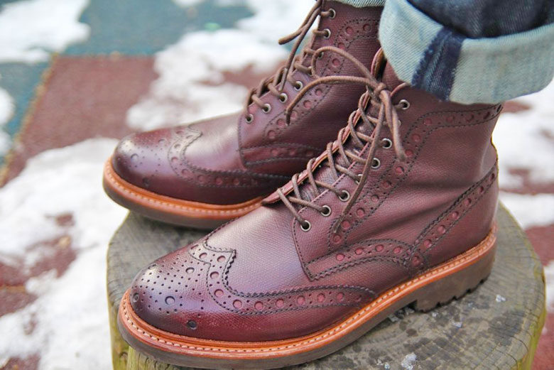 Grenson Fred Brogue Boot With Jeans Side