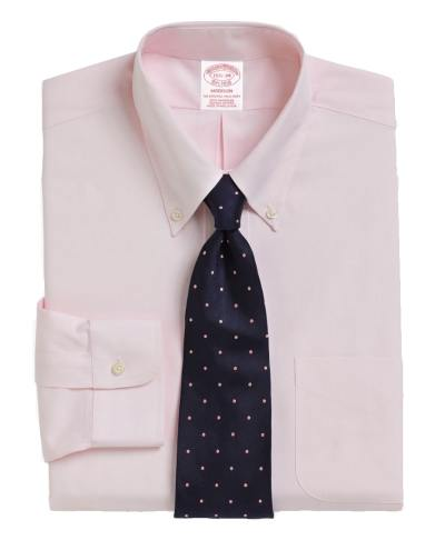 Pink shirt navy dotted silk tie