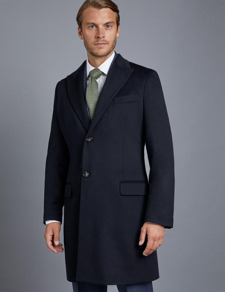 Men's Italian Navy Loro Piana Wool Coat - Hawes & Curtis