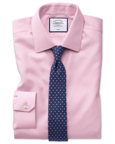 Pink shirt dark blue dotted silk tie