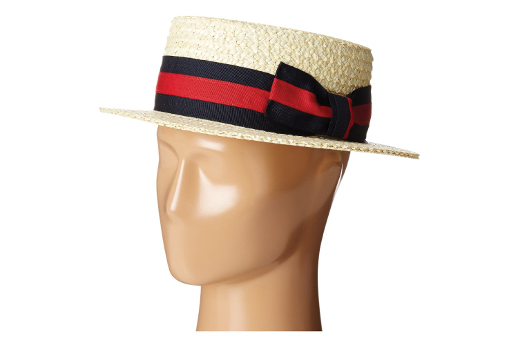 SCALA Ribbon Straw Boater