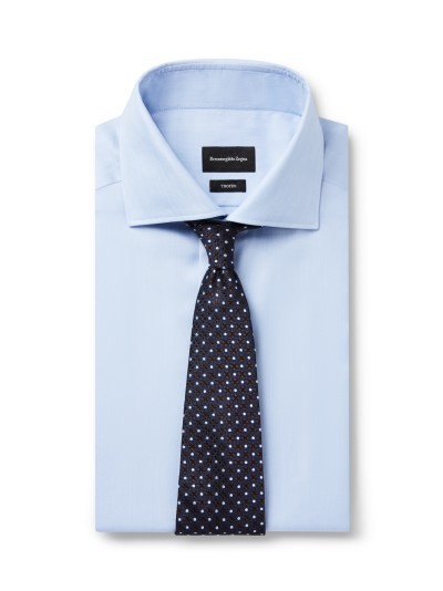 Light blue shirt dark blue spot silk tie