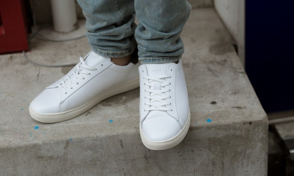 Clae Bradley white leather with jeans
