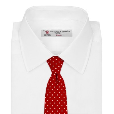 White shirt red small spot silk tie