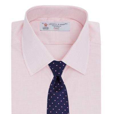 Pink shirt navy spot silk tie