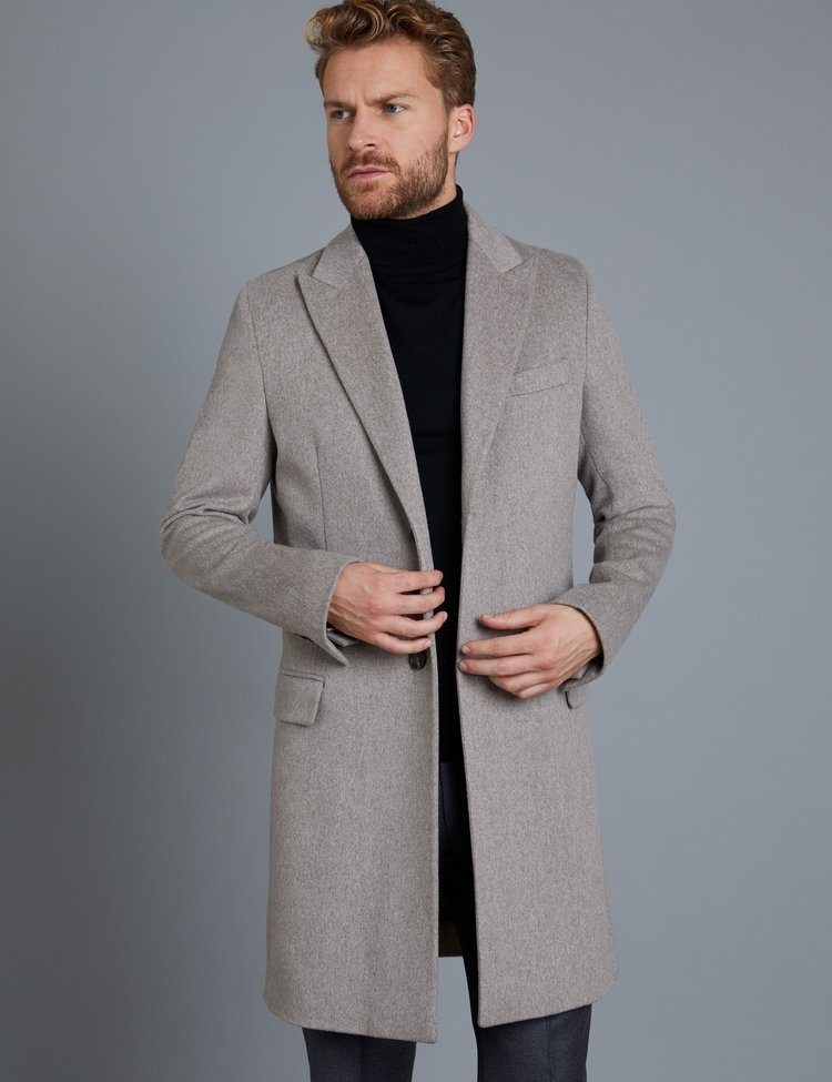 Men's Italian Stone Loro Piana Wool Coat - Hawes & Curtis
