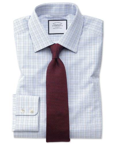 White checked shirt red knitted tie