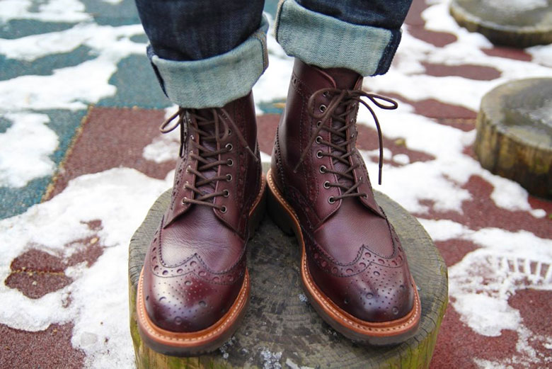 Grenson Fred Brogue Boot With Jeans Front