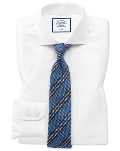 White shirt blue diagonal stripes silk tie