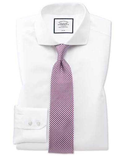 White shirt pink small spot silk tie