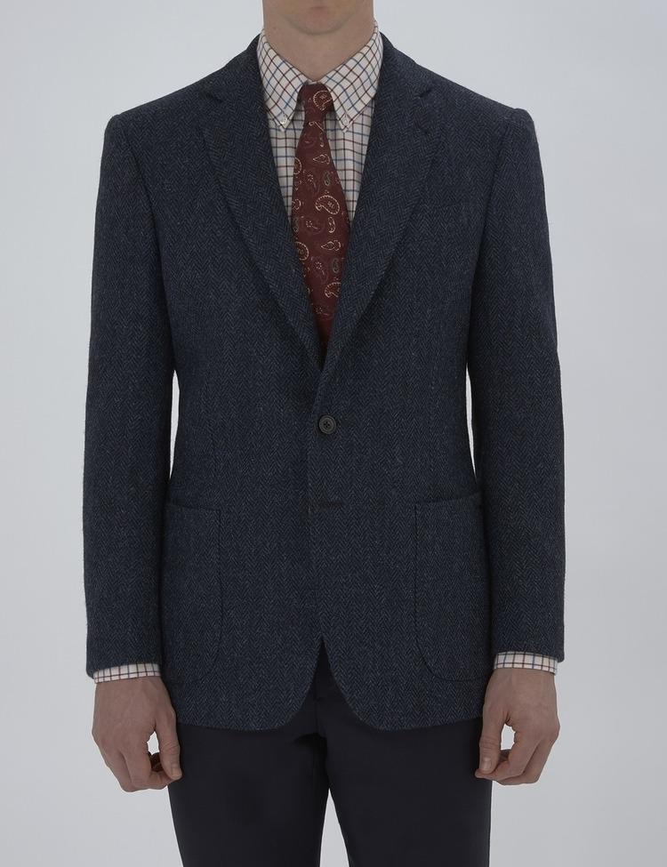 Burke Navy Harris Tweed Jacket - Turnbull and Asser