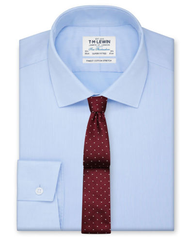 Light blue shirt red dotted silk tie