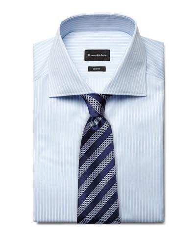 Blue striped shirt navy diagonally striped tie