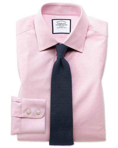 Pink checked shirt red knitted tie