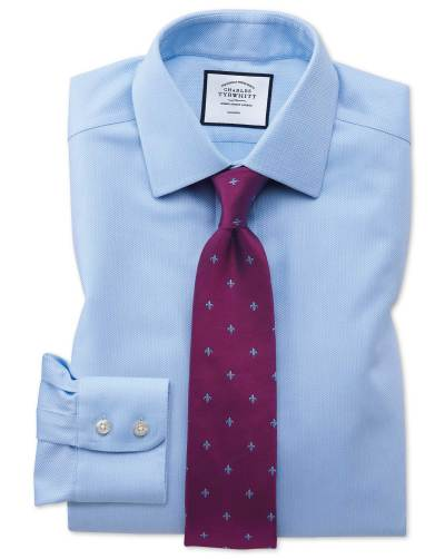 Light blue shirt red cross patterned silk tie