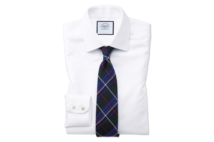 Charles Tyrwhitt Non-iron White Arrow Weave Shirt