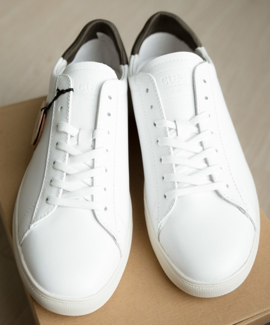 Clae Bradley white leather front