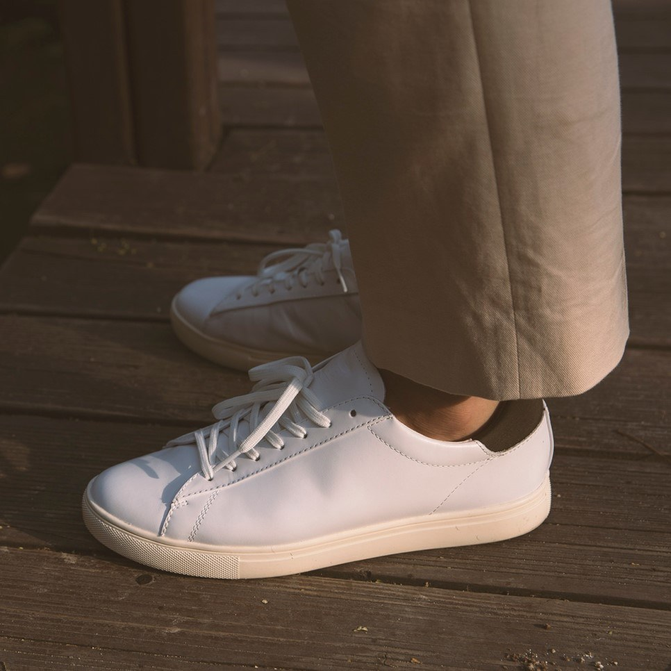 Clae Bradley white leather with chinos
