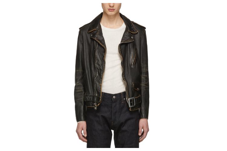 Schott Black Vintaged Leather Motorcycle Jacket