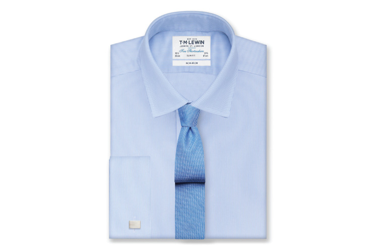 T.M.Lewin Non-iron Blue Fine Stripe Slim Fit Shirt