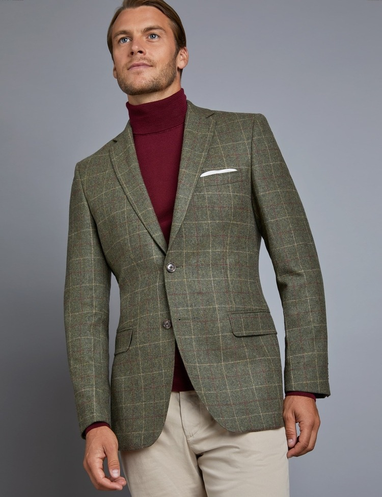 Men's Green & Red Check Tweed Blazer - 100% Wool - Hawes and Curtis
