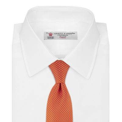 White shirt orange small spot silk tie