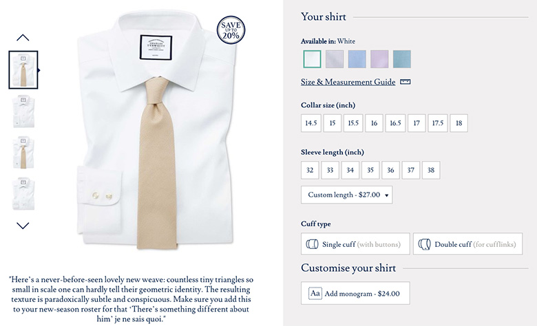 Charles Tyrwhitt Shirts Product Detail Page