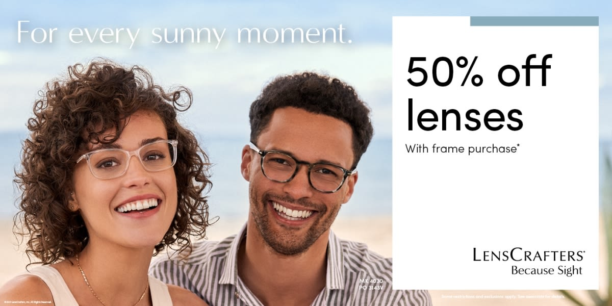 [Image] [offer] For every sunny moment. 50% off lenses with frame purchase.
