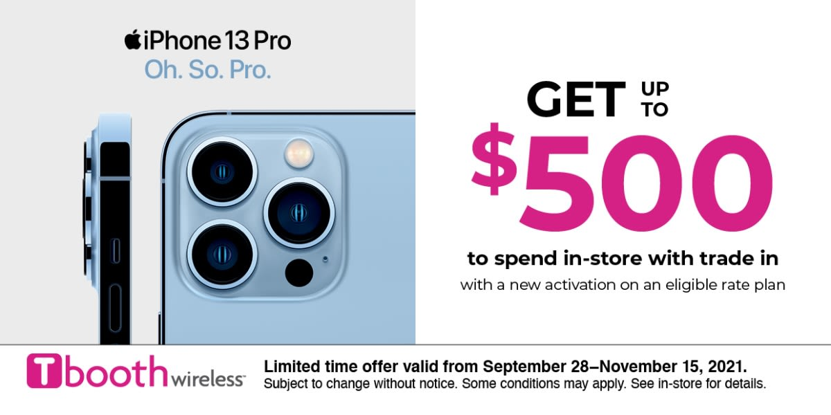 [Image] [offer] iPhone 13 Pro: Get up to $500 to spend in-store.