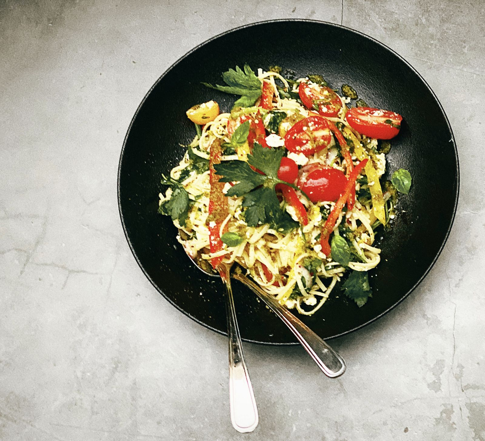 Warm pasta salad with soft feta
