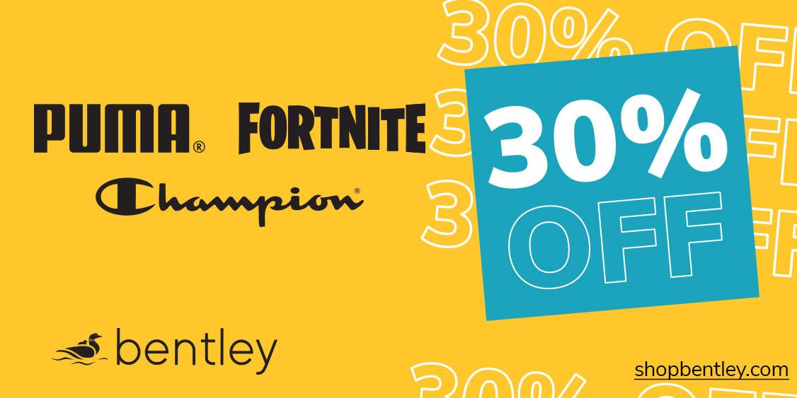 [Image] [offer] 30% off Champion, Fortnite, Puma
