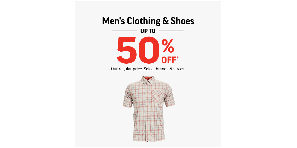 [Image] [offer] Men's Clothing & Shoes Up To 50% Off!
