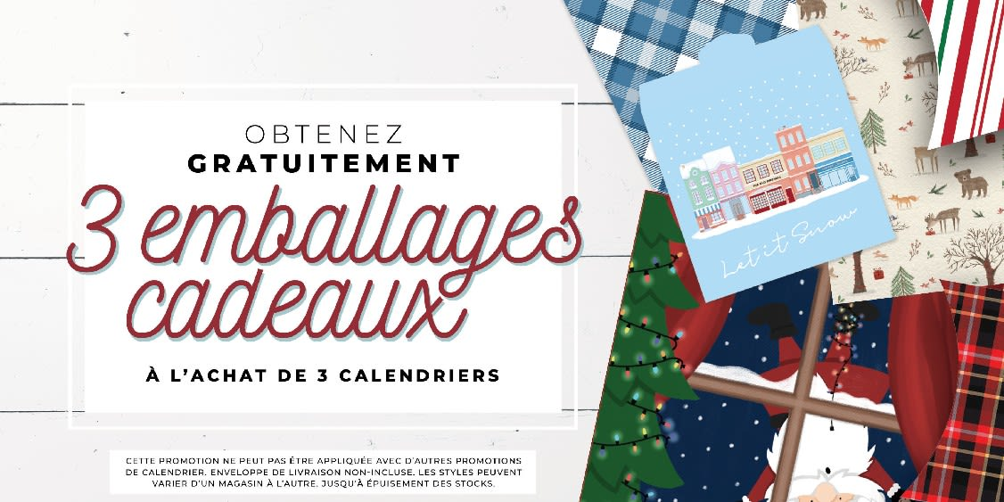[French] [Image] [offer] Gift Wrap: 3 Free When You Buy 3 Calendars!