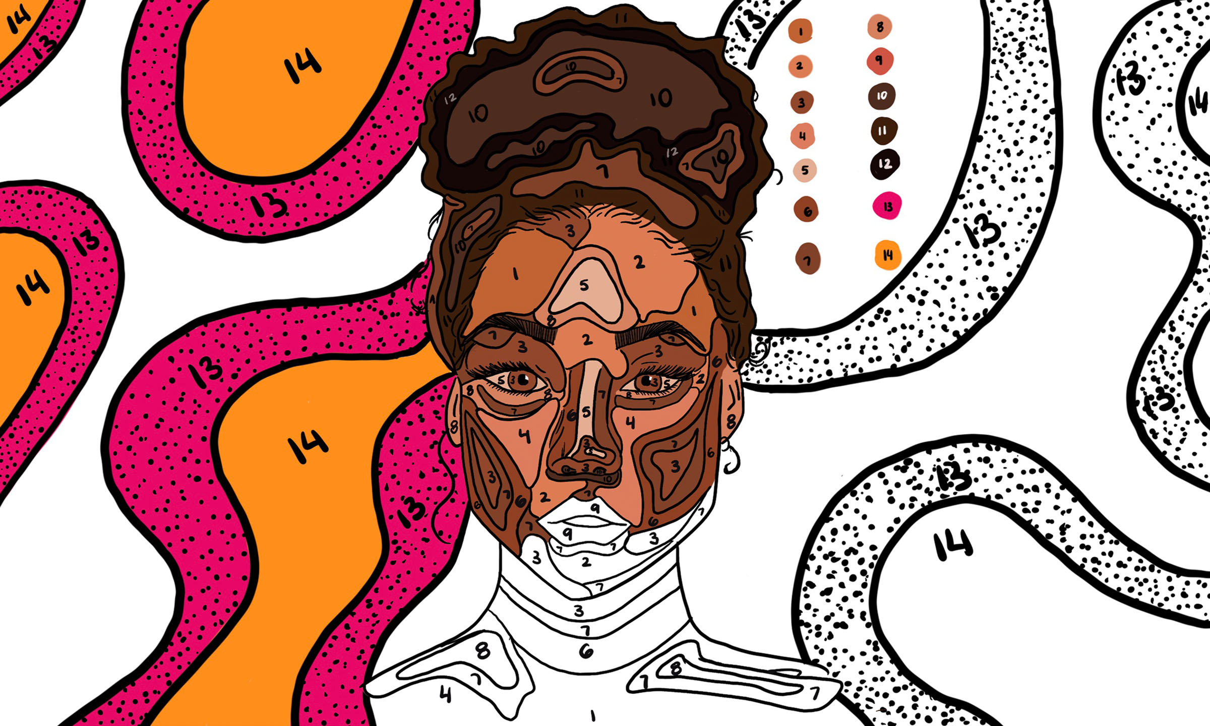 An illustration of a woman depicted in a paint-by-numbers fashion, with half of her face colored in and half not —a metaphor to describe the lack of information some providers have with patients and prescriptions.