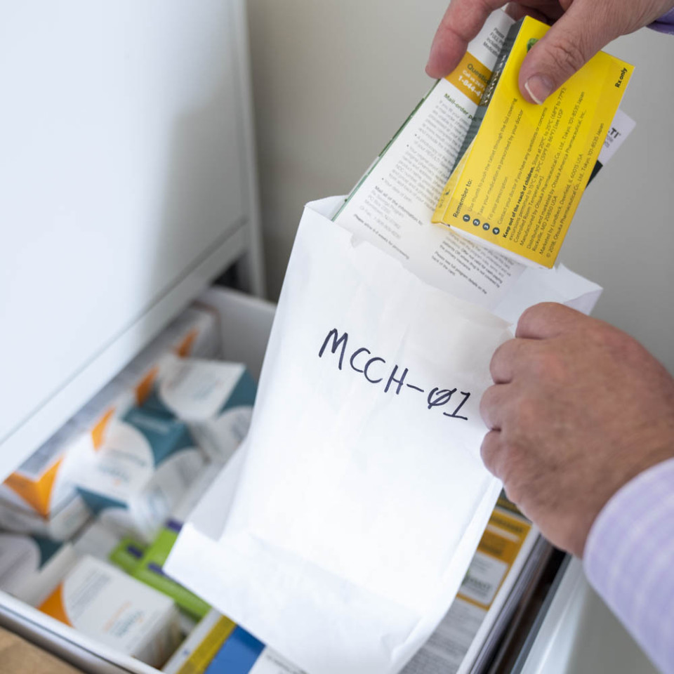 Bag with drug sample and coupon