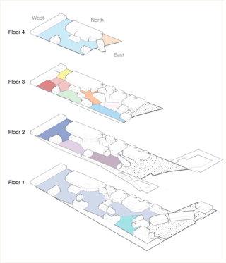 A floor-by-floor cutaway rindering showing neighborhood layouts.