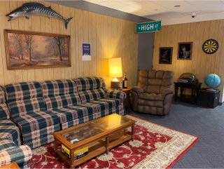 """A photo of the """"Uncle Larry's"""" themed space inside our 41 South High Street office."""