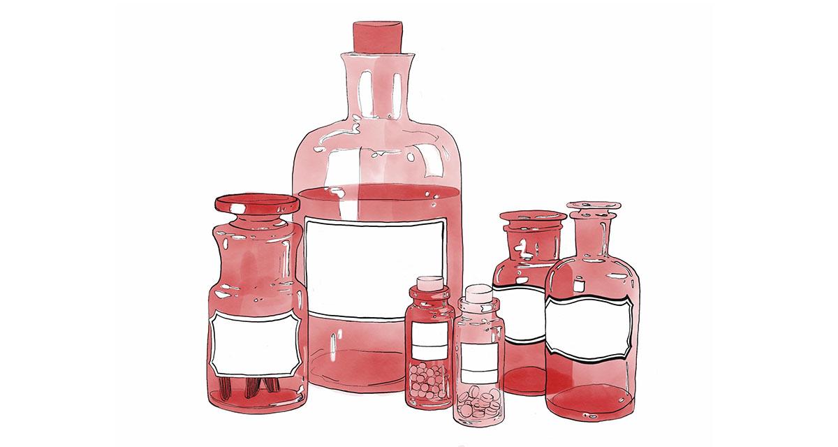 Illustration of multiple red vintage bottles