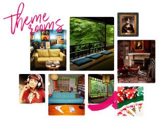 A collage of photos used for inspiration for the theme rooms on campus.
